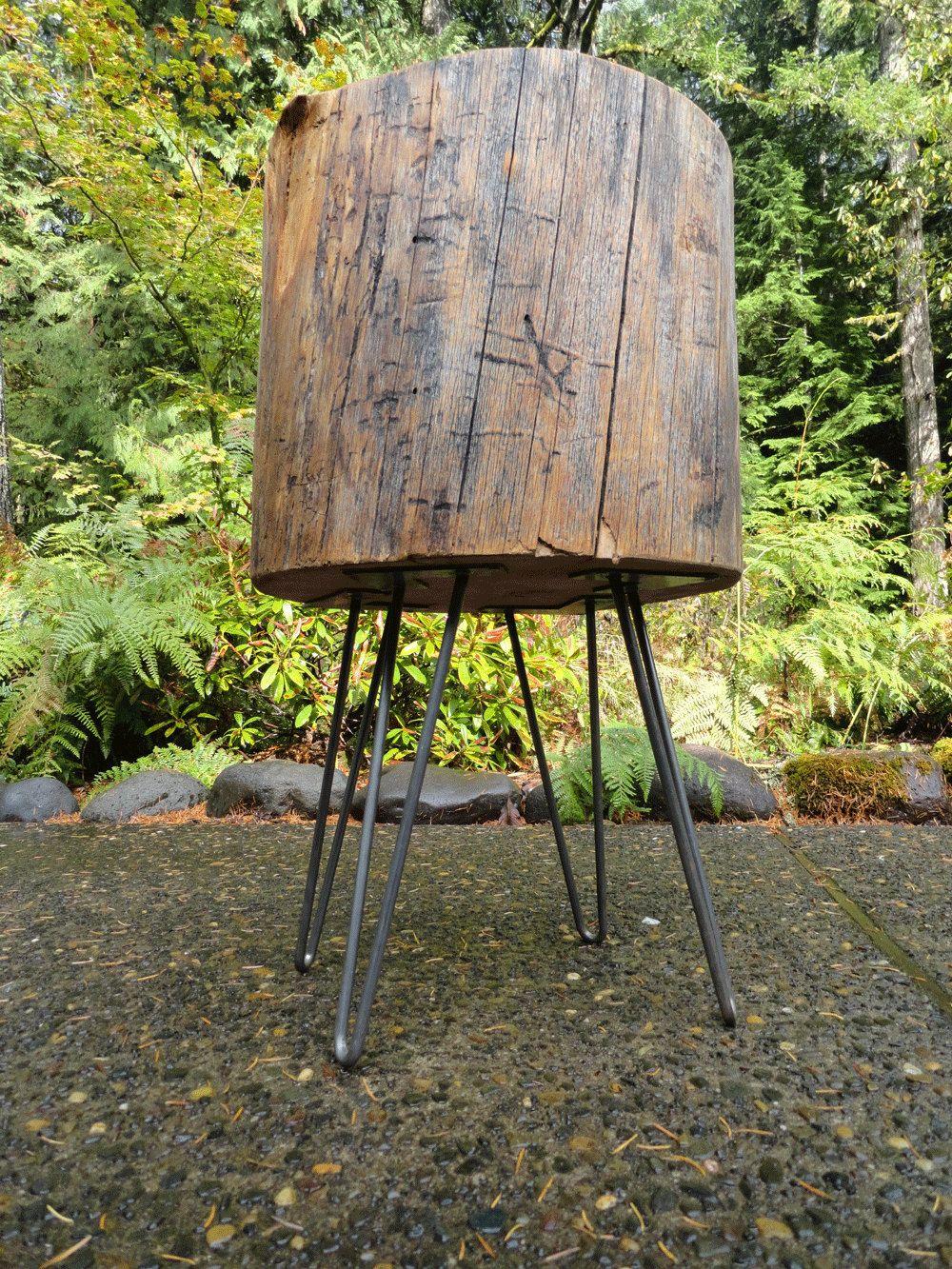 Massive Hardwood Stump table with hairpin legs