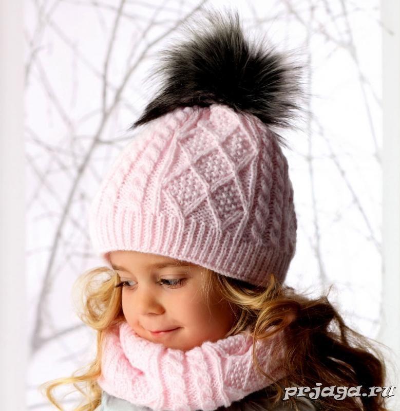 efd81e1e08b8 Шапка и снуд спицами для девочки «Косички с ромбиками» Детские Шапки, Зимние  Шапки
