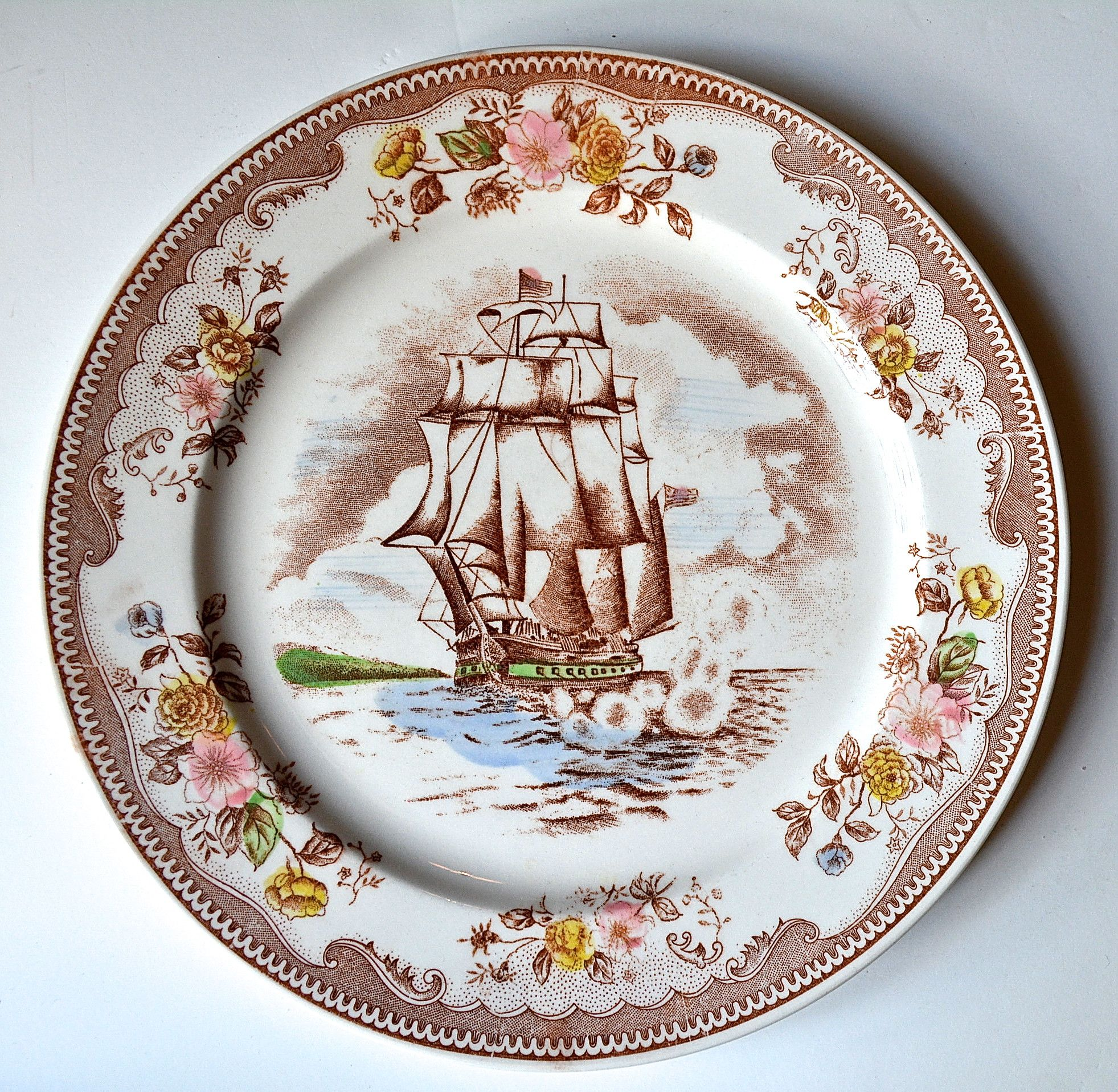 Vintage English Transferware Old Ironsides Brown & Richie Plate ...