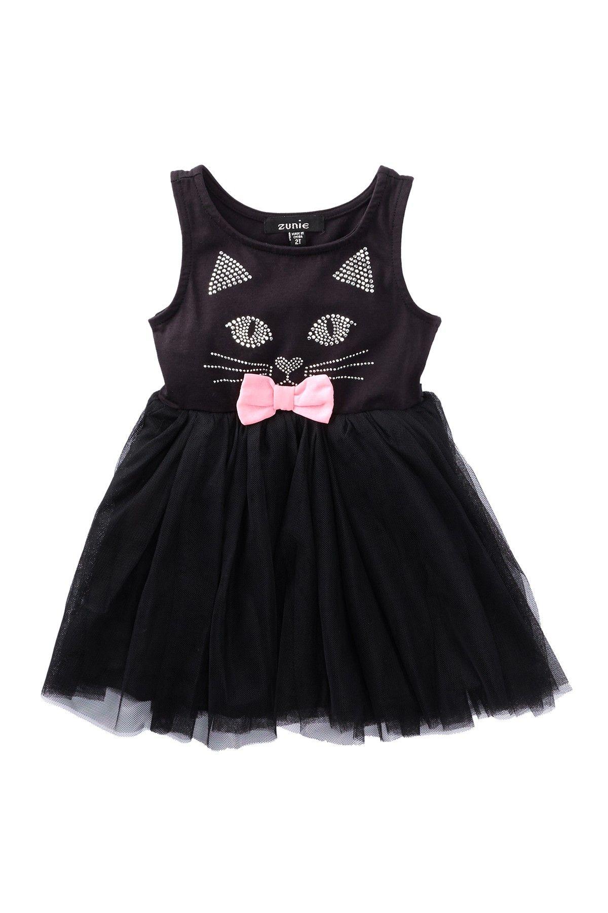 Zunie kitty face sleeveless dress toddler girls kitty face and