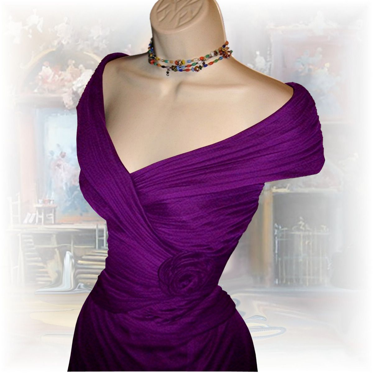 portrait collar cocktail dress   NWT Purple Portrait Collar Formal ...