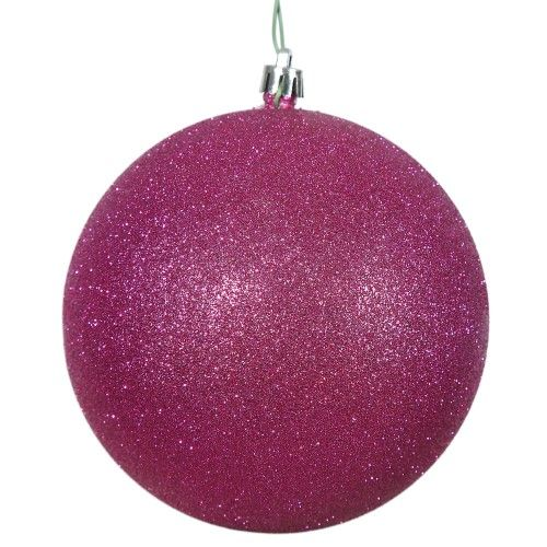 Vickerman 8 inch Magenta Glitter Ball Christmas Ornament   Ball ornaments, Christmas balls ...
