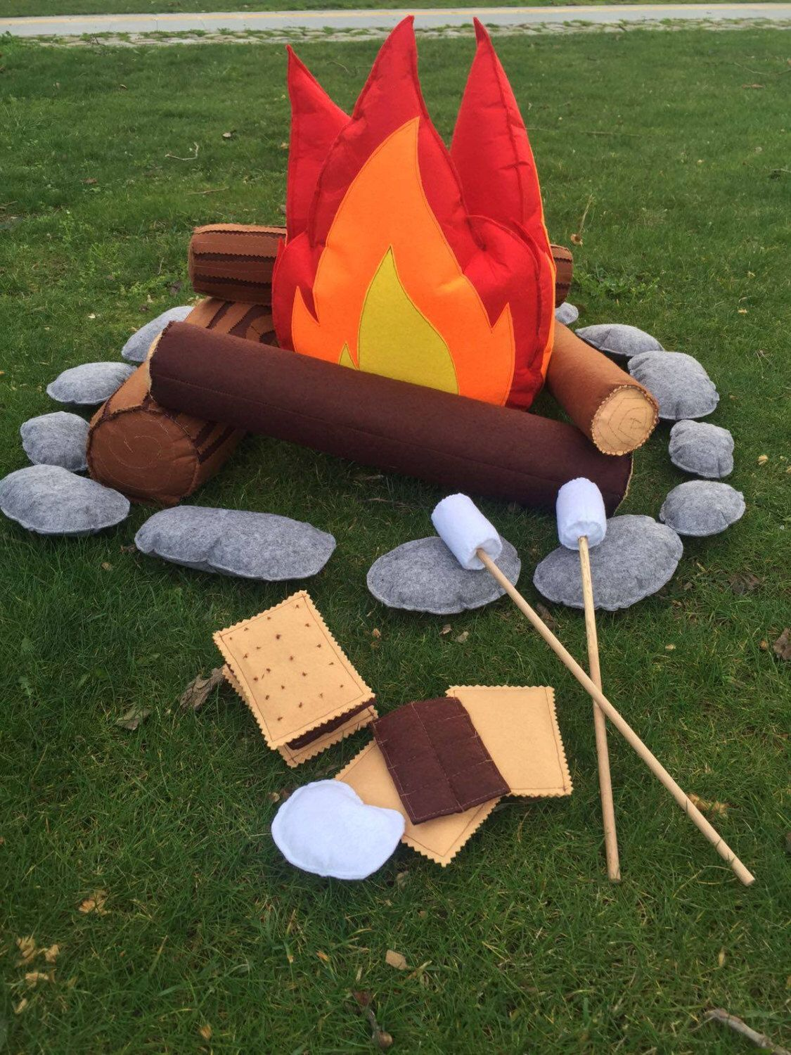 Multicolor Photo Prop Indoor Camping Theme Play Teepee Decor Adventure Home Decor Fire Pillow Nursery Decor Felt Campfire Plush Toy for Kids,Felt Plush Party Decorative Flame Torch