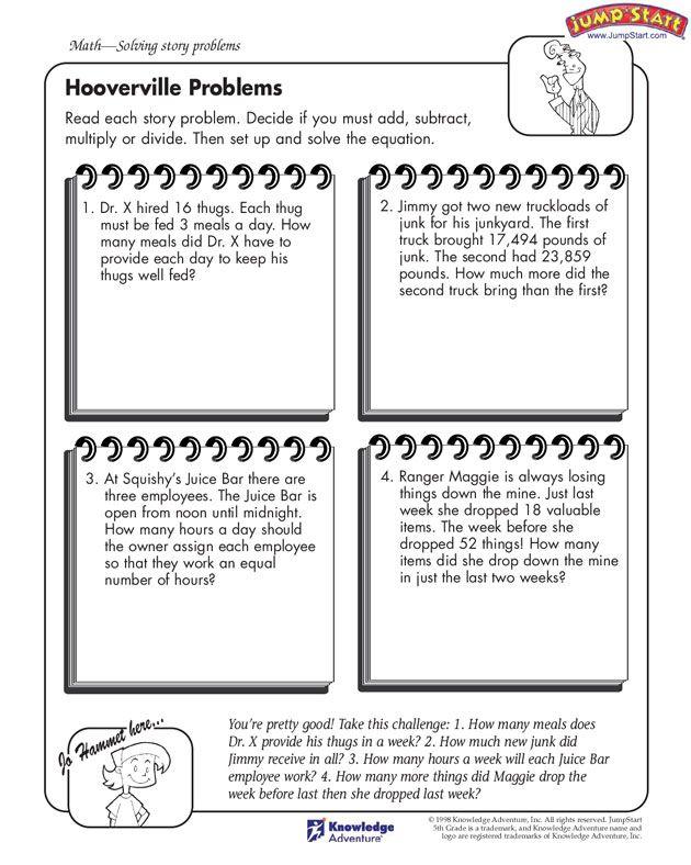 Hooverville Problems 5th Grade Math Problems Jumpstart Crafts