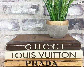 Gold Black Brown Designer Books Chanel Louis Vuitton Prada