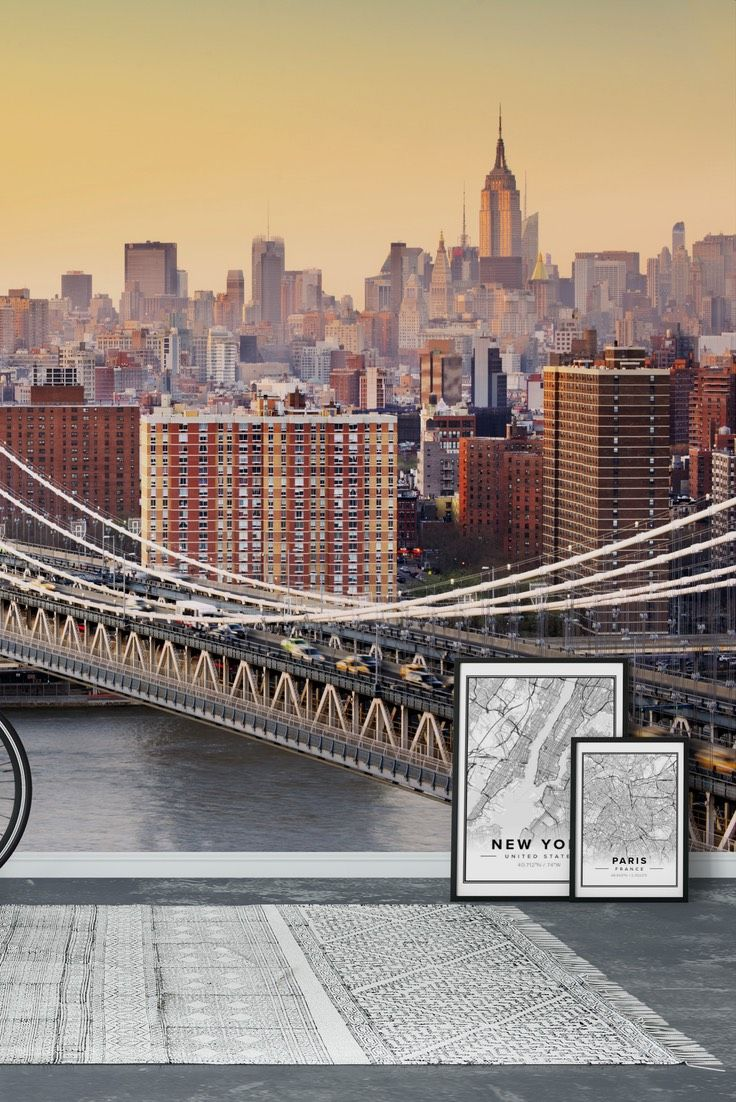 Brooklyn Bridge black and white Wall mural (With images