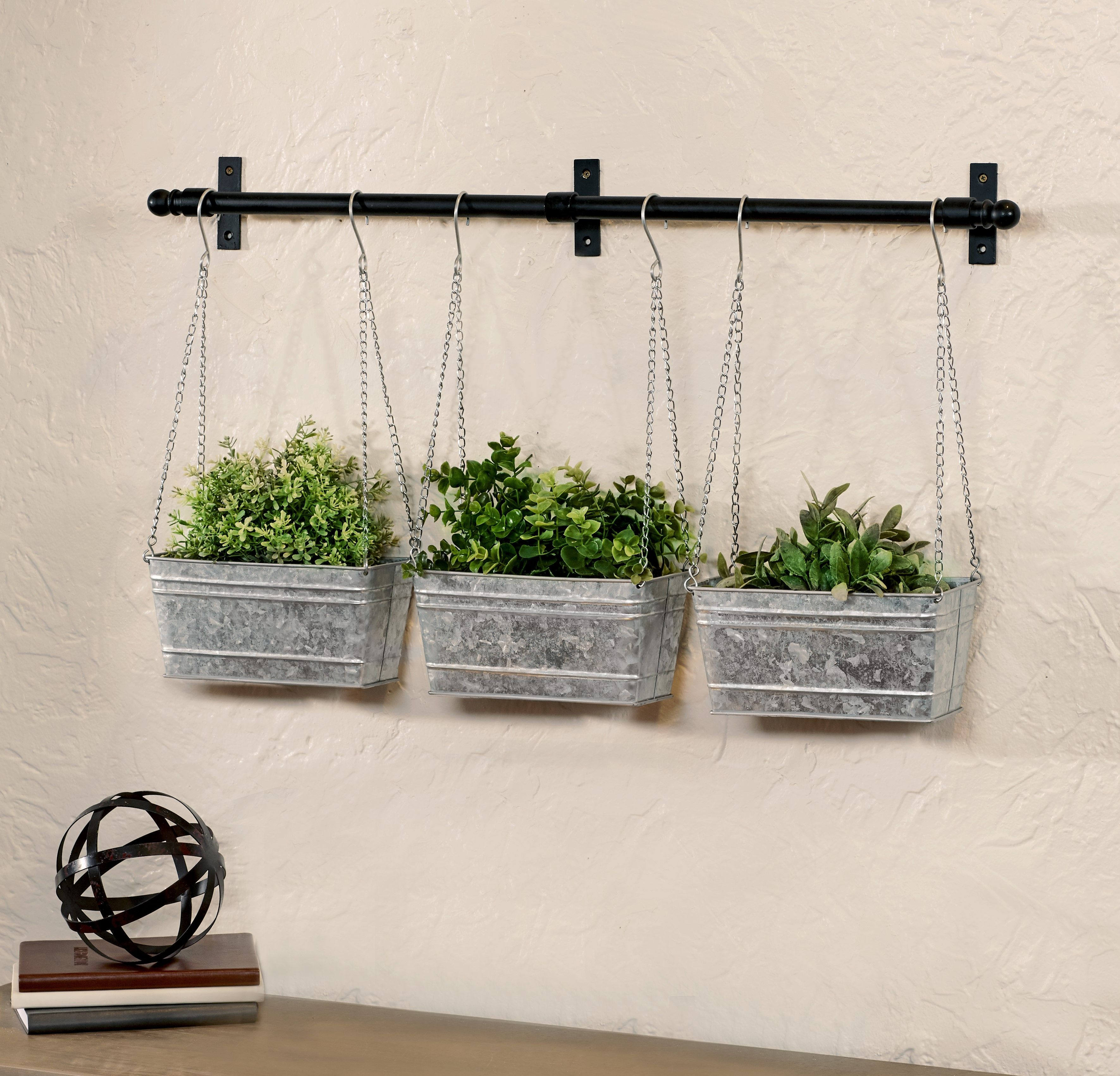 Farmhouse hanging wall planter with three baskets