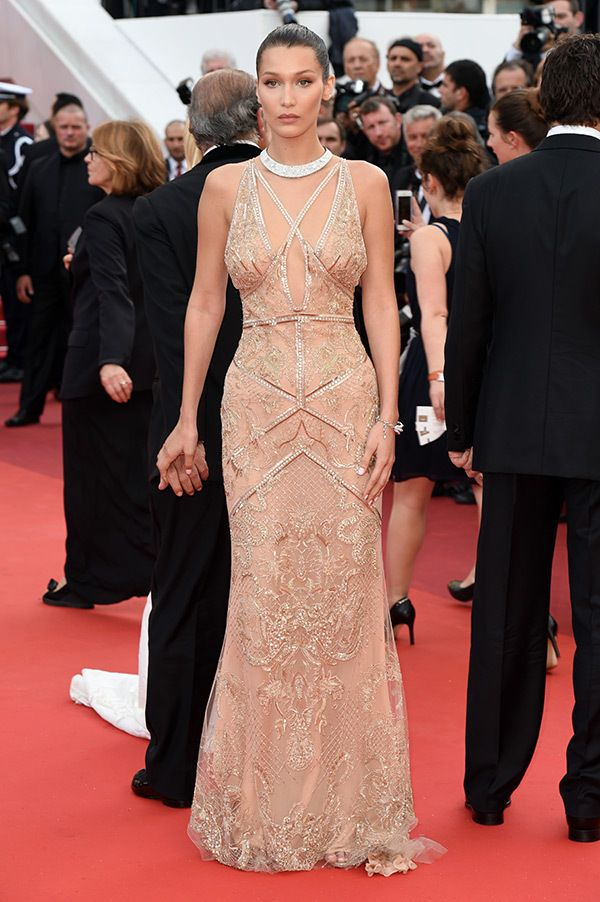 Bella Hadid looked gorgeous in an embellished gown at the 'Cafe Society' premiere at Cannes Film Festival.