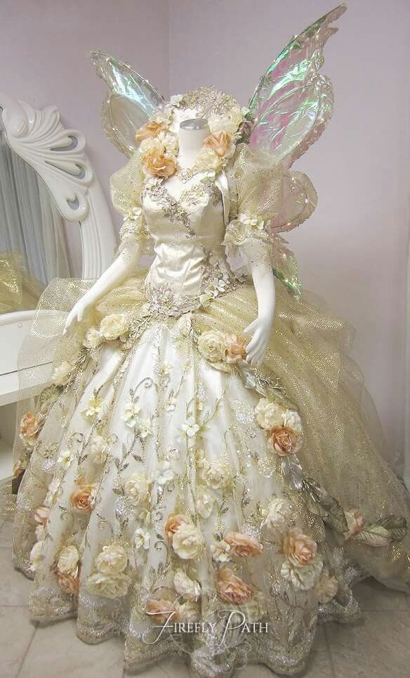 Queen titania gown w wings faerie realm pinterest for Fairytale ball gown wedding dresses