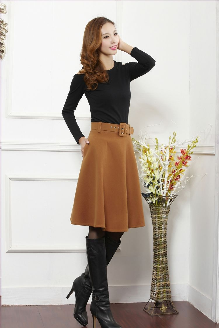 Aliexpress.com  Comprar Recién llegado de otoño invierno falda de lana para  mujeres más el tamaño falda larga de talle alto faldas plisadas mujeres de  ... 4051b78e6b50