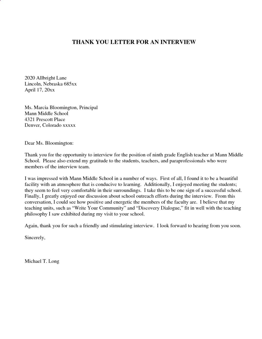 Sample Thank You Note For Teaching Interview Cover Letter