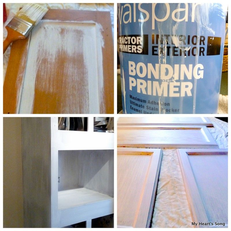 Painting kitchen cabinet in mobile home fake wood my - Best bonding primer for kitchen cabinets ...