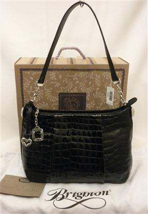Brighton Muse Top Zip Shoulder Bag Black Croco Patent Leather H32183 Nwts