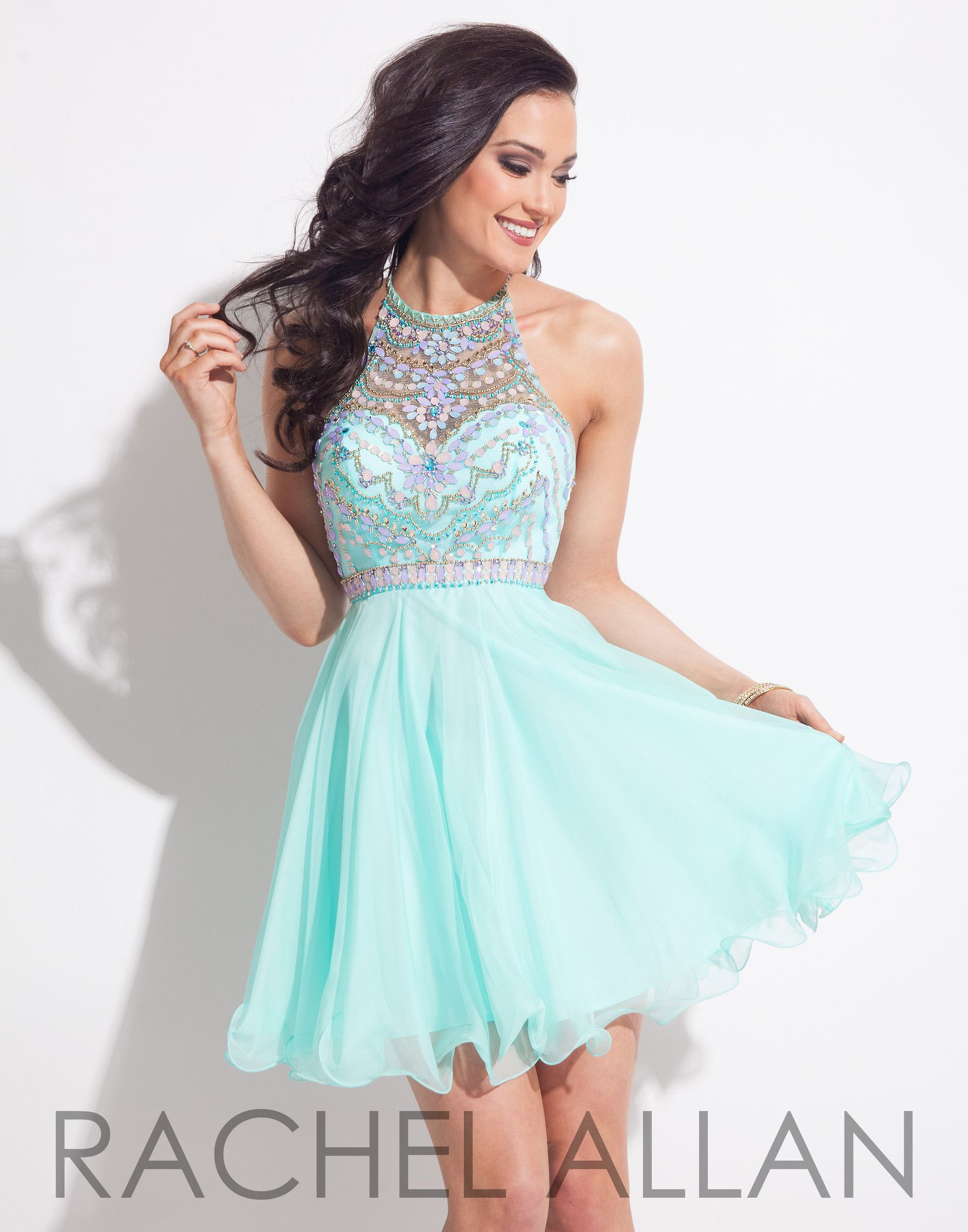 This Chiffon babydoll with heavily beaded bodice in mint is ...