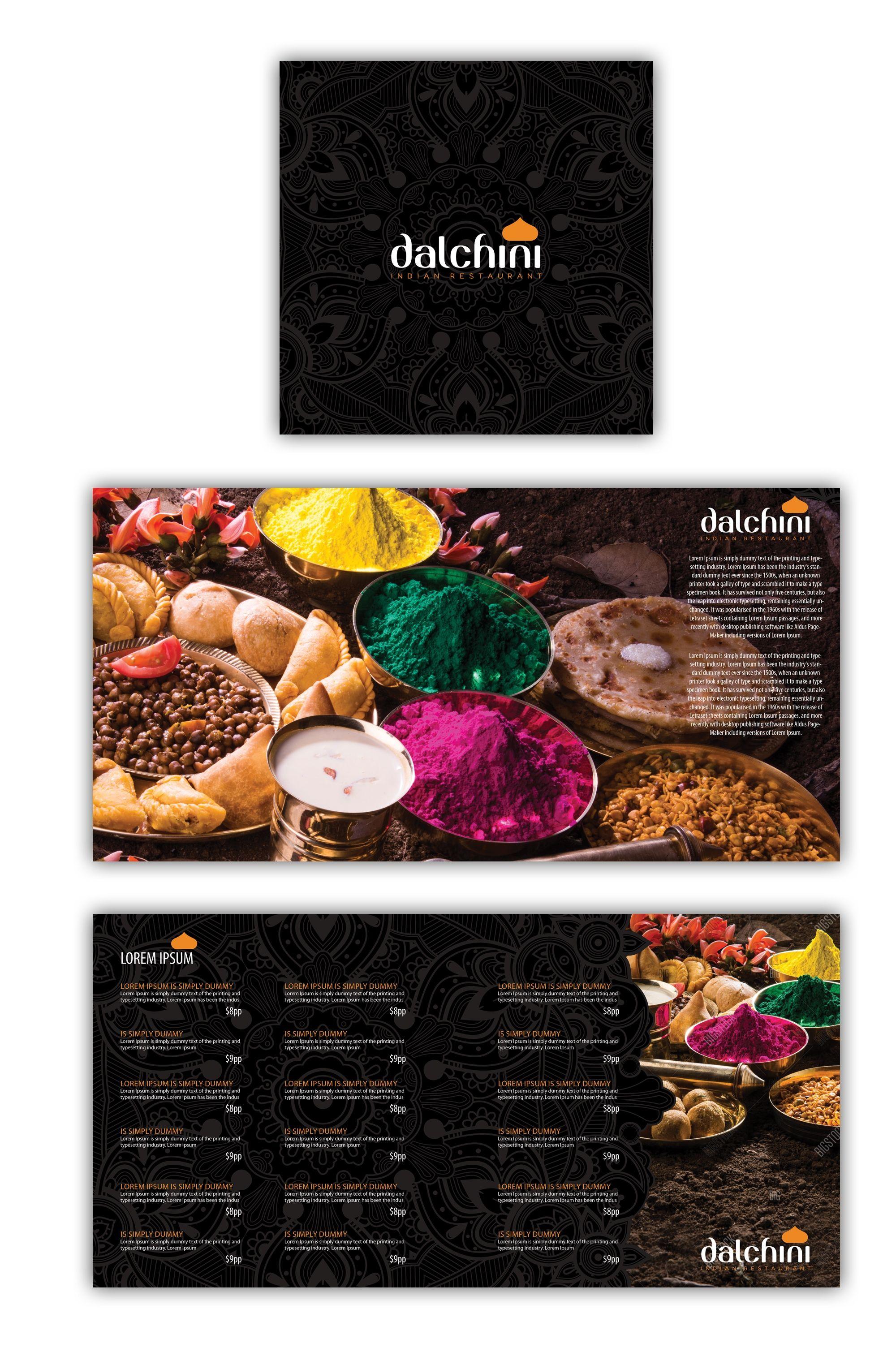 Designs create a modern folding book menu for an indian