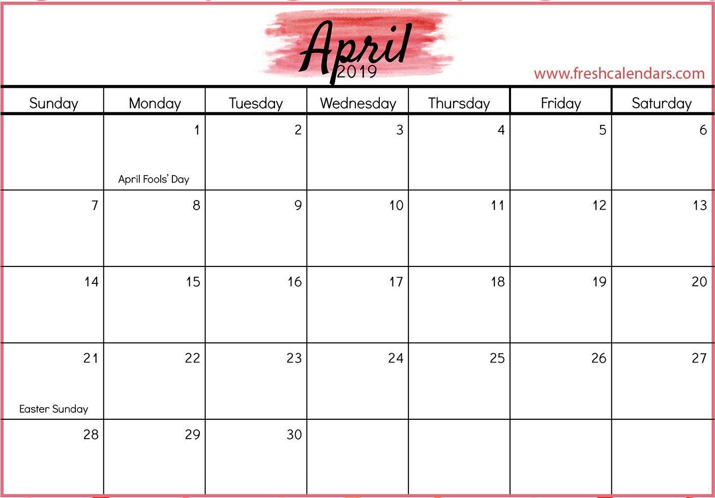 April 2019 Calendar With Holidays April April2019calendar