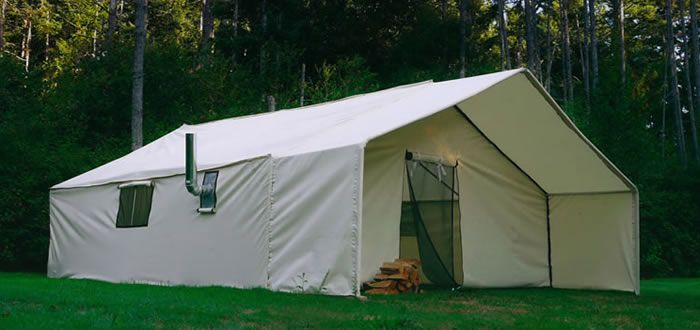 This is a canvas wall tent with a wood stove for heat and cooking with. : canvas cook tent - memphite.com
