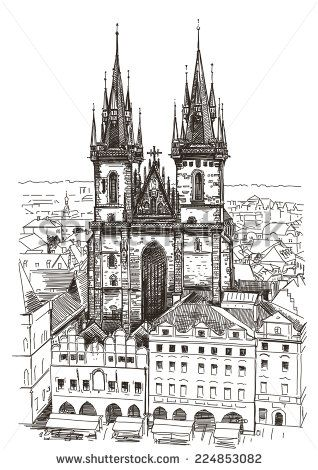 Vector Drawing Of Church Our Lady Before Tyn In Prague Czech