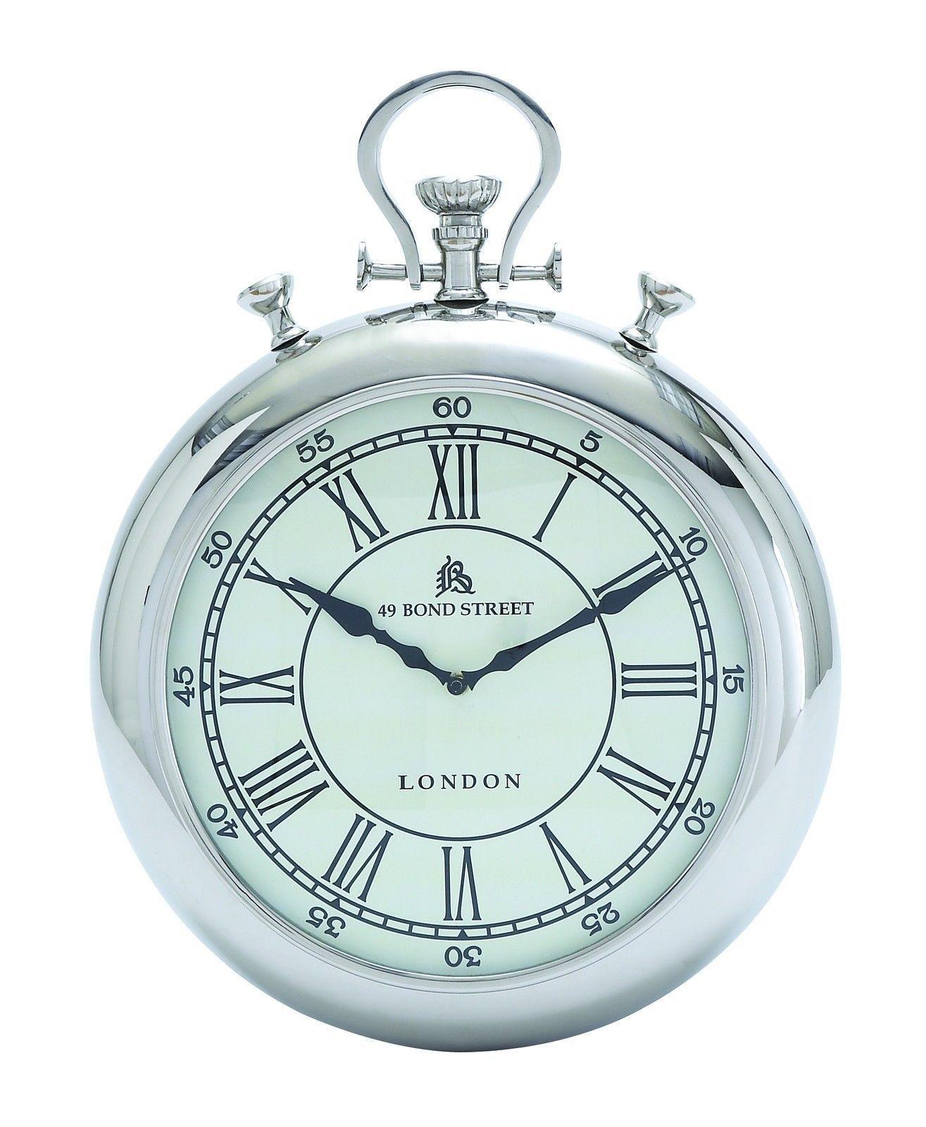 Modern 14 Silver Stop Watch Pocket Time Piece Wall Clock London