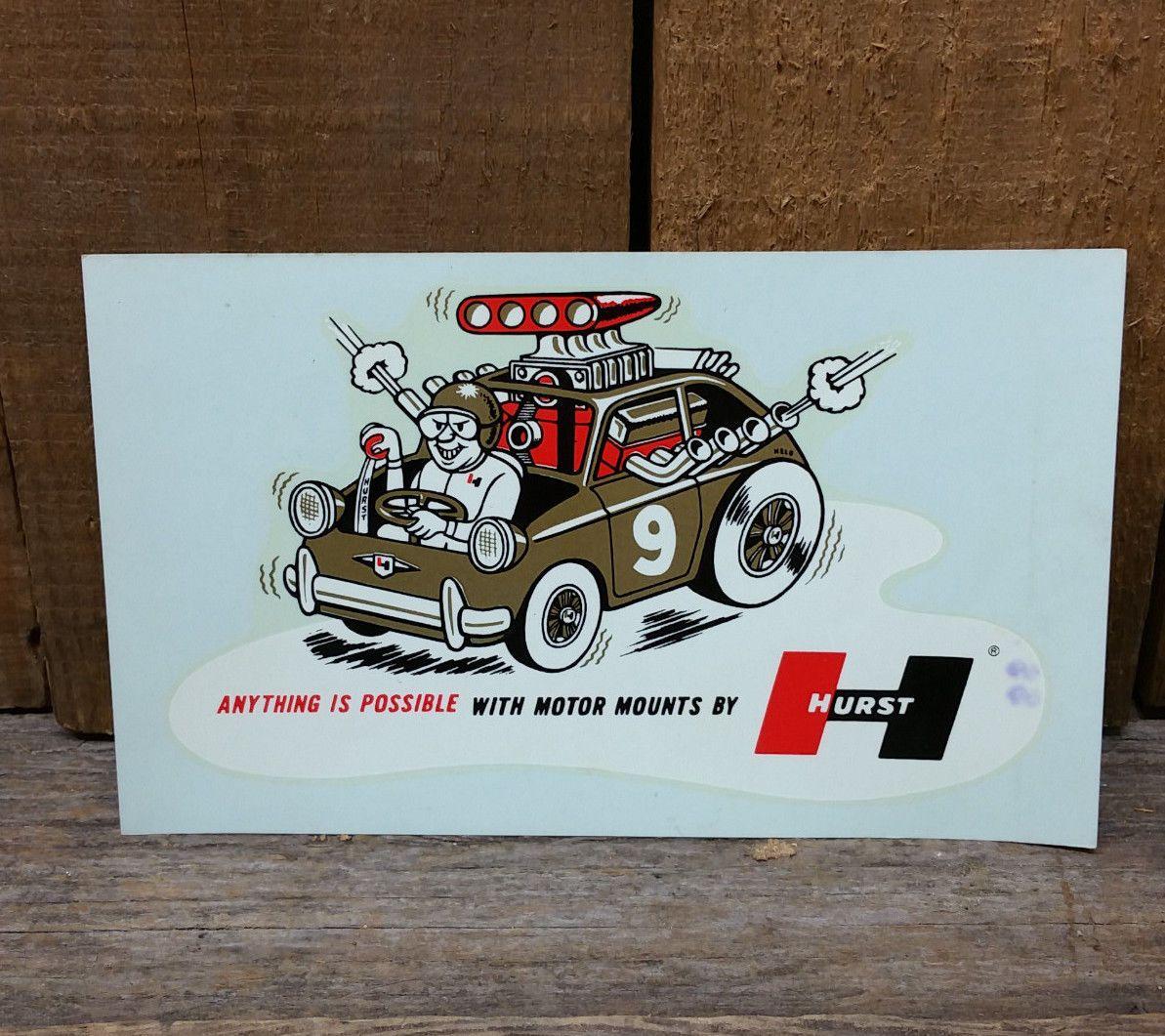 Vintage Hurst Motor Mount Decal Rat Hot Rod Gasser Drag Racing Altered Abarth Hot Rods Vintage Decals