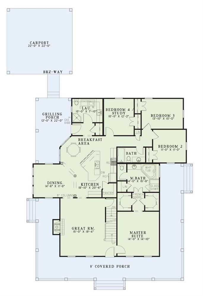 Floor Plan For This Bedroom Southern Country Home Wraparound Porch
