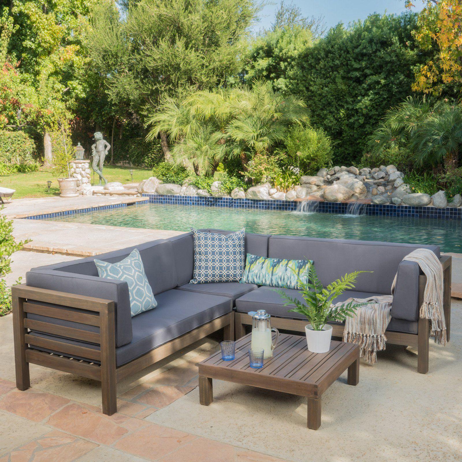 Patio Room Furniture: Outdoor Oana Wooden 4 Piece Patio Sectional Sofa Set Dark