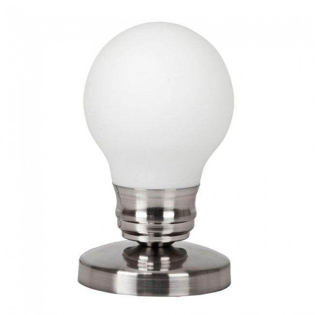 Ingo Maurer Style Light Bulb Touch Table Lamp in Brushed Chrome – Desk Lamp Light Bulb