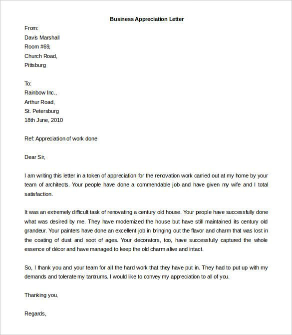 business letter templates free download the best sample letters - appreciation email