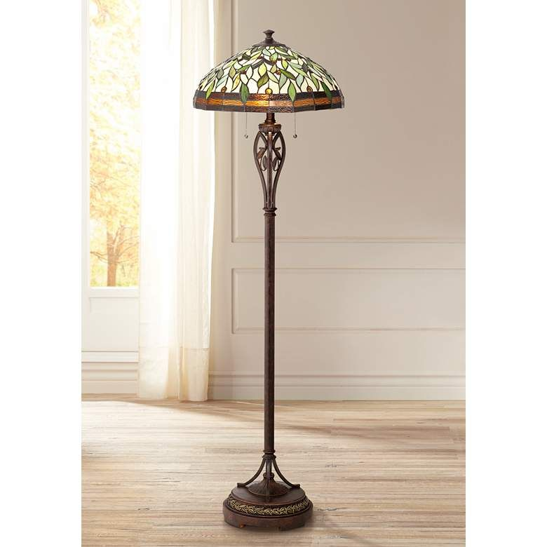 Leaf And Vine Ii Tiffany Style Floor Lamp 8j045 Lamps Plus Tiffany Style Floor Lamps Tiffany Floor Lamp Tiffany Style