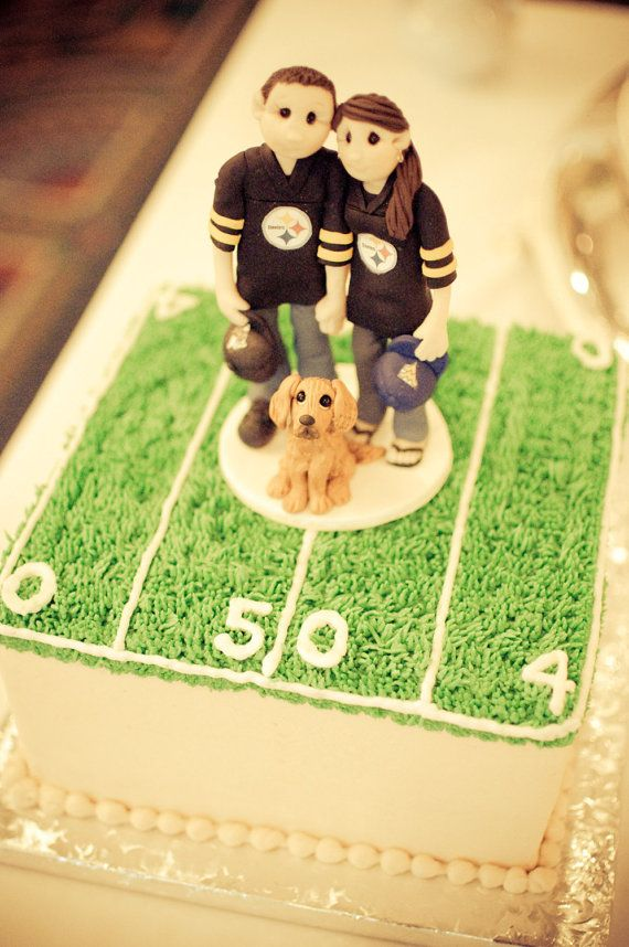 Custom Bride and Groom Football Fans Wedding Cake Topper on Etsy ...