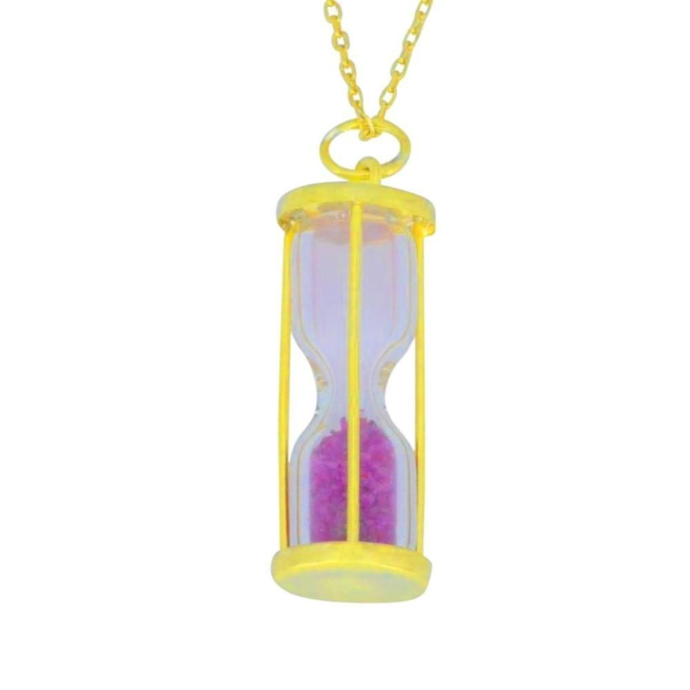 Natural Ruby 'Time in Bottom' Dust Hourglass Pendant 14Kt Yellow Gold Plated Over .925 Sterling Silver