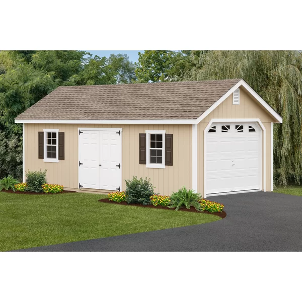 12 Ft W X 26 Ft D Solid Wooden Garage Shed Wooden Garage Wooden Storage Sheds Garage Shed