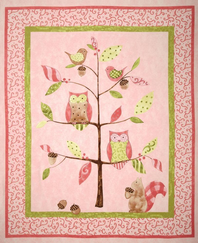 Owl Tree Nursery Quilt Panel Pink - Discount Designer Fabric ... : cot quilt panels - Adamdwight.com