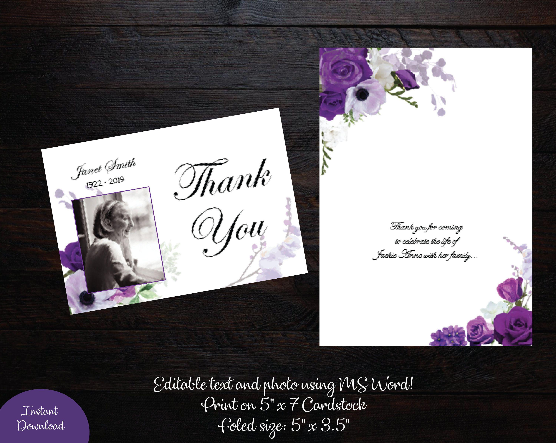 Funeral Photo Thank You Card 5 X 7 Memorial Thank You Card