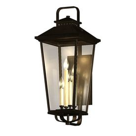 Allen Roth Parsons Field 17 In H Black Outdoor Wall Light Seeded Glass 80