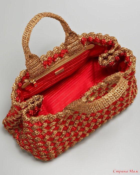 bf327acbdfd96b prada crochet bag | Bag | Knitted bags, Crochet tote e Free crochet bag