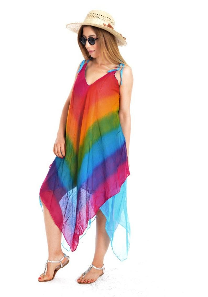 Rainbow Dress Cotton Maxi Dress Summer Dresses For Women Plus Size Dress Rainbow Tunic Maxi Dress Cotton Summer Dresses For Women Summer Maxi Dress [ 1134 x 794 Pixel ]