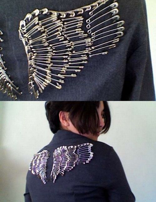DIY Safety Pin Wings on Jacket cool