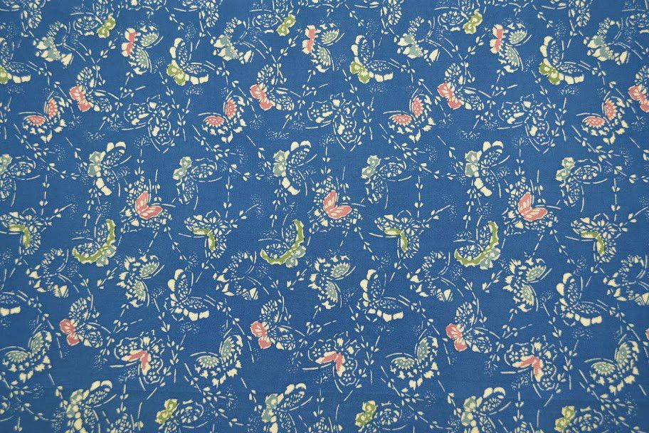 Vintage Fabric Large Remnant Anese Blue W Erflies Sewing Craft