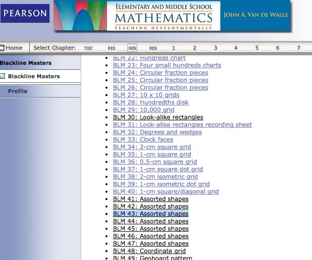 Blackline Masters John A  Van de Walle Free downloads | Math