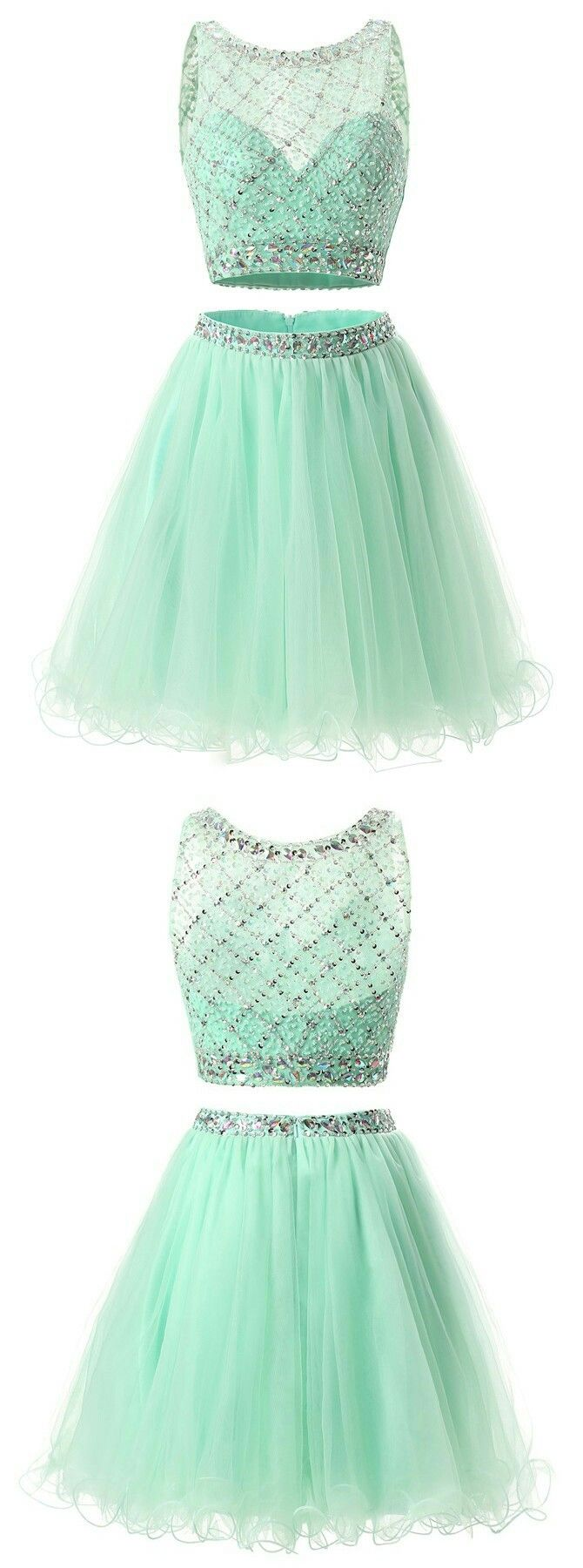 Two piece crew aboveknee peach tulle homecoming dress with beading