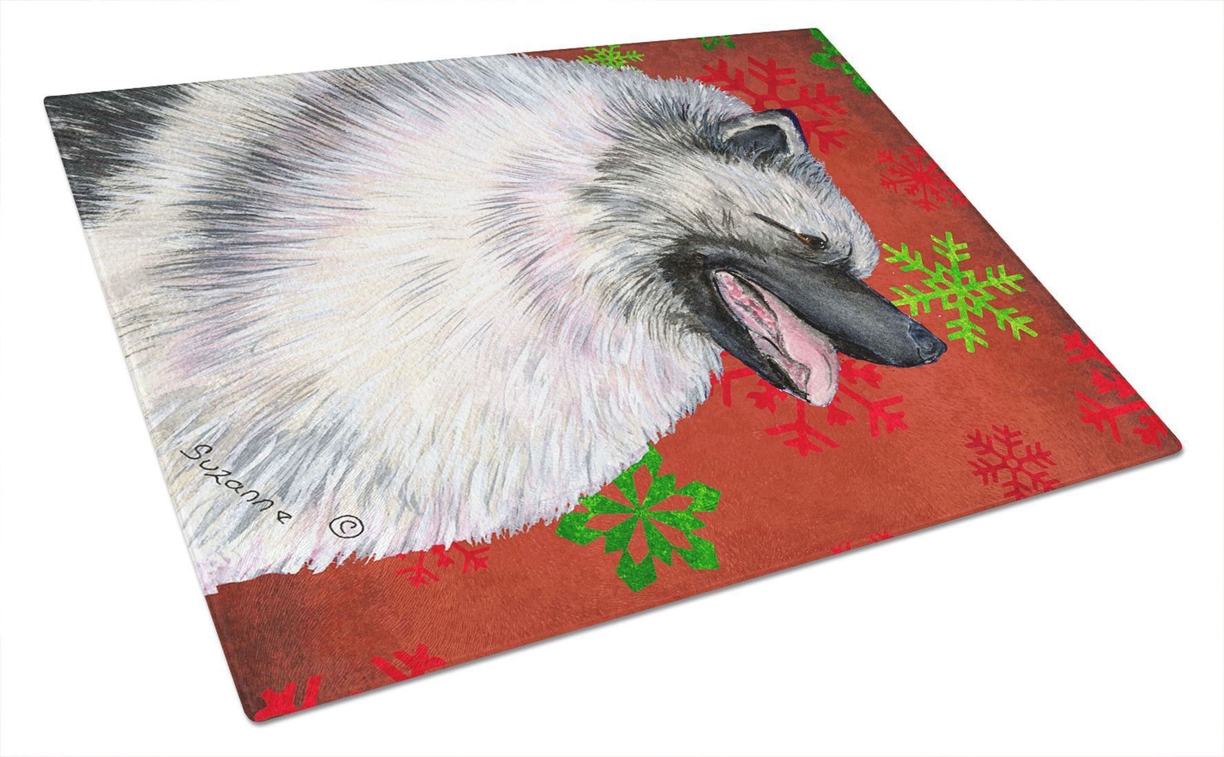 Keeshond Red and Green Snowflakes Holiday Christmas Glass Cutting Board Large