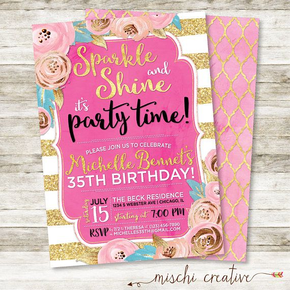 35th Birthday Invitation Sparkle And Shine Party