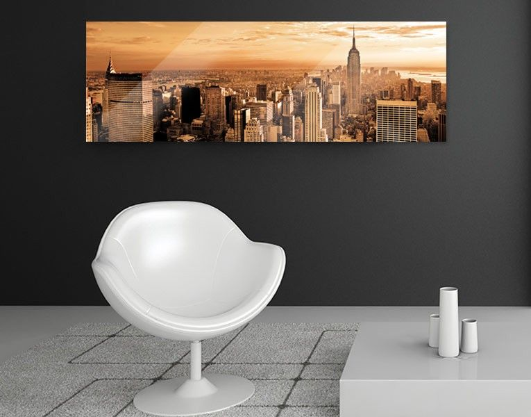 Inspirational Glasbild Skyline Manhattan Sepia
