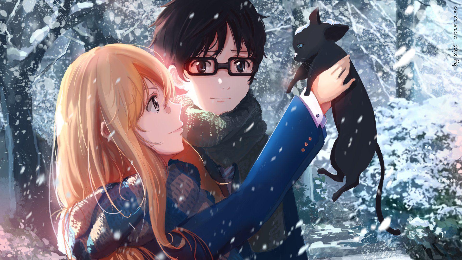 Anime Your Lie In April Cat Kaori Miyazono Kousei Arima Snow Anime Glasses Gi Papeis De Parede Animados Para Celular Casais Bonitos De Anime Animes Wallpapers