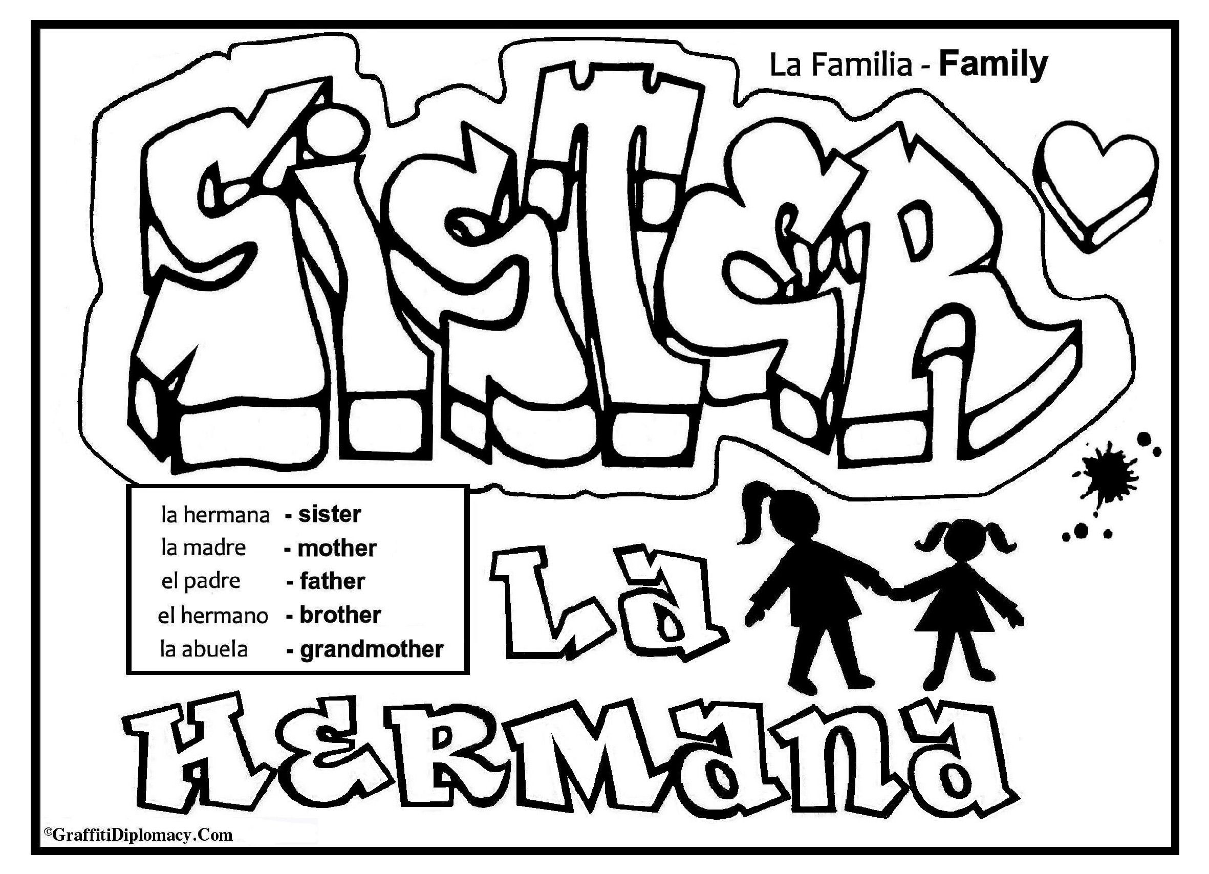 english spanish free printable graffiti coloring page, family - la