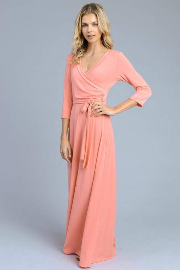 3dc6ef55c551a Solid 3/4-Sleeve Maxi-Dress   Products   Dresses, Maxi dress with ...