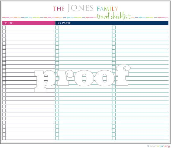 Personalized Travel Checklist Printable By Iheartorganizing