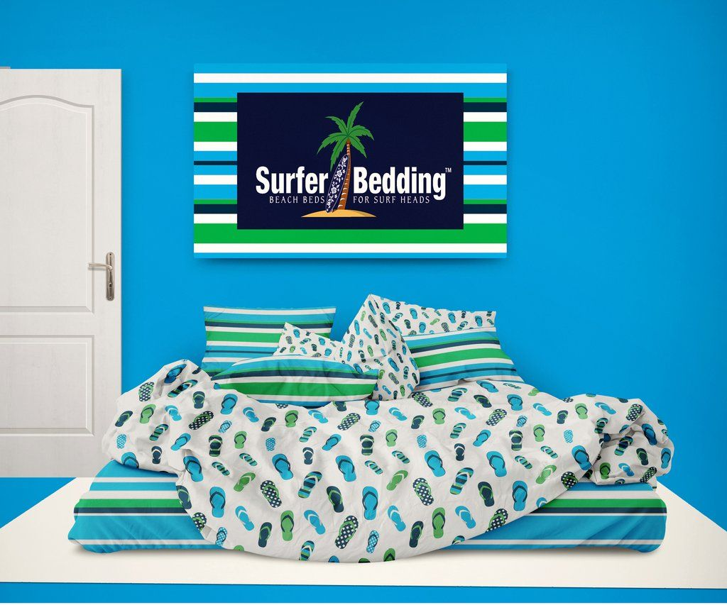 0d93198df Surfer Bedding Preppy Blue and Green Flip Flops Beach Stripes Comforter Set