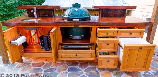 Marvelous Big Green Egg Table · Posh Patios ...